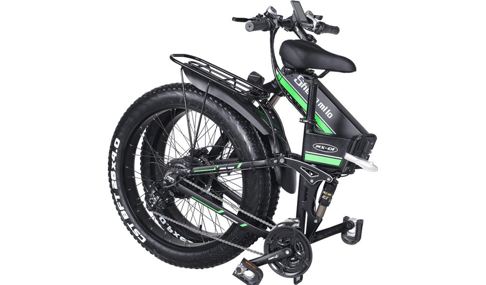 Shengmilo-MX01-Green-electric--folding-bike-folded